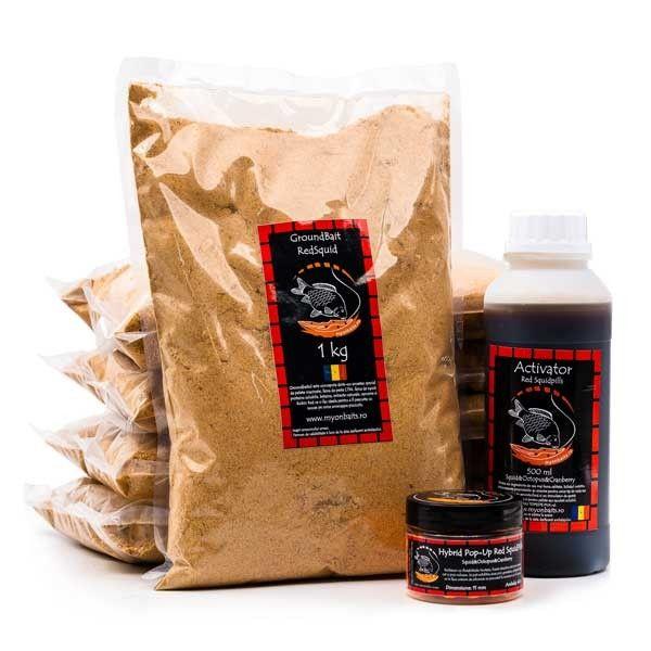 Groundbait PremiumPack: 5 kg RedSquid + activator + critice carlig